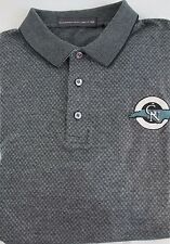 Mens Polo Shirt XL Short Sleeve Golf All Cotton Black Greensboro National Check