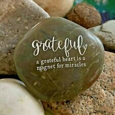 Engraved Rock ~ Grateful Heart Is A Magnet For Miracles | Inspirational