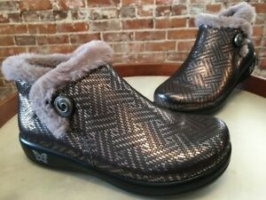 Alegria Pewter Water Resistant Leather Faux Fur Meri Ankle Boot 38 7.5 - 8 New