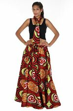 Red Green Wax Elastic Waist Flared Skirt One Size Fit Ankara Long Large Bow Tie