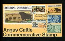 Ranto Cachet US FDC #1504 combo w/ 1005 1024 Rural America Angus Cattle 1973
