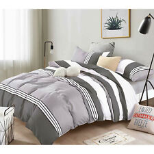 Bedding Comforter Set Bed In A Bag 5 Pcs Luxury Polyester Twin Size, Stripe Grey