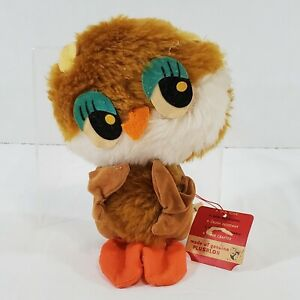 1970 Wallace Russ Berrie Plushlon Flocked Owl Plush Stuffed Animal Toy