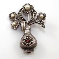 Vintage Sterling Silver Marcasite Pearl Garnet Flower Vase Estate Pin Brooch SEI