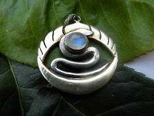 Moonstone Snake and moon 925 silver pendant gold dipped (30)
