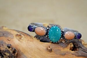 Sterling Silver Carolyn Pollack Cuff with Turquoise and Amethyst