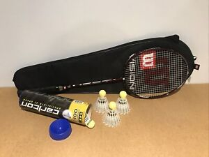 Great Black & Red Wilson 3U/G3 Badminton Racket With 4 Carlton C-100 Shuttlecock
