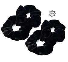 BLACK VELVET HAIR BANDS SCRUNCHIES x 4  Soft Velveteen Bobble Ponytail Holder UK
