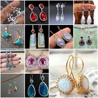 Fashion 925 Silver Opal Moonstone Dangle Drop Earrings Women Jewelry Party Gift