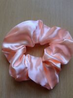 A Pale Peach Satin Scrunchie Ponytail Band / Bobble