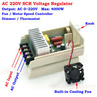 AC 220V 4000W SCR Fan Motor Speed Control AC Voltage Regulator Dimmer Thermostat