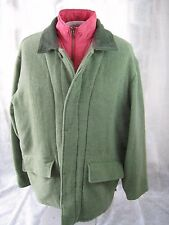 WOOLRICH lined corduroy collar thick button zip coat. L olive green warm!
