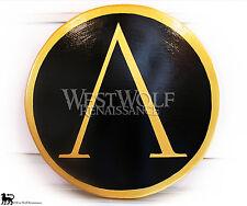 Classic Round GREEK GOLD LAMBDA SHIELD -- sca/larp/spartan/trojan/troy/300/armor