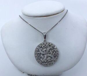 14k White Gold Diamond Celtic Knot Pendant Necklace