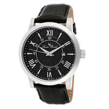 Lucien Piccard Stockhorn Men's Black Leather Watch QVC Sold Out!
