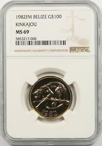 1982FM Belize Gold $100 NGC MS 69 (Kinkajou)