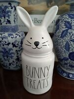 "Rae Dunn ""BUNNY TREATS"" Canister LG Bunny Rabbit Head Ears Easter Spring 14"" NEW"