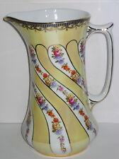 Milchkanne Milchkrug, 1 Liter, Perlmut Gelb, Rosen Blumendekor, 21x16x10cm
