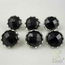50 pcs Round Black Acrylic Diamond Edge Buttons Lot Craft Sewing 12.5MM Cards