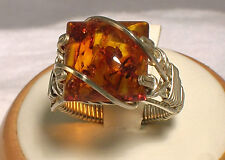Sterling Silver Wire Wrapped Baltic Amber Ring