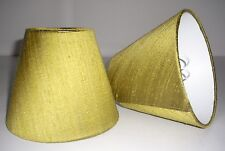 6 Candle Lampshades Handmade in UK - Lime Green Silk