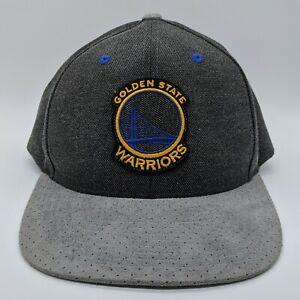 MITCHELL & NESS Golden State Warriors NBA Logo Hat Suede Bill Snapback Cap Gray