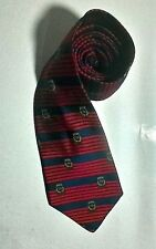 Vintage Tommy Hilfiger 100% Silk Hand Sewn Red/Blue Striped Tie Logo TH Crest