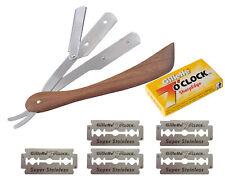Holz Rasiermesser inkl.20 halb Gillette Rasierklingen Rasierer Rasur Bart Razor