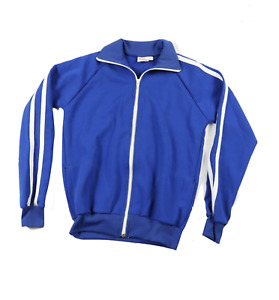 Deadstock Vintage 70s Youth Large Striped Warm Up Soccer Jacket Royal Blue USA