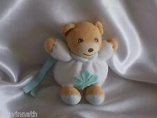 Doudou ours blanc, fleur verte, attache tétine, Kaloo