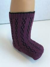 """Lacy Patterned Socks Plum for 18 """"American Girl Doll Clothes AG Dark Purple New"""