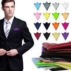 Men Fashion Satin Solid Pocket Square Wedding Party Hanky Handkerchief NEW