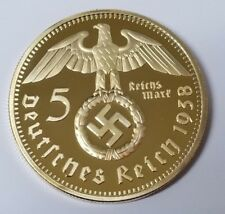 WW2 WWII Third Reich Nazi German Hindenburg 5RM 24K Gold plated coin 1938