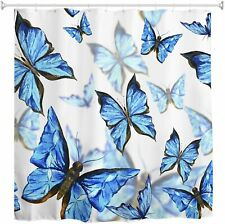 Blue Butterfly French Country Shabby Chic Boho Bohemian Fabric Shower Curtain
