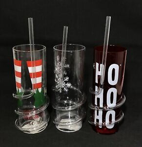 Kid's Christmas Drinking Tumbler Cups With Spiral Straw Xmas Glass Drink Juice