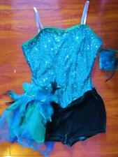 Sequin Foil Unitard Jazz Feather Velvet Curtain Call Costume Dance AMED