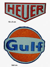 #014 GULF AND HEUER Gulf Oil Embroidered Iron On Gasoline Car Patch 2 pcs set