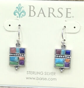 Barse Taxco Azteca Earrings- Mixed Stones- Sterling Silver- NWT