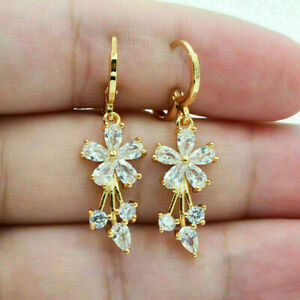 Cluster Wedding Dangle Drop Floral Earring's 14K Yellow Gold Over 2.6 Ct Diamond