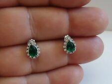 925 STERLING SILVER TEARDROP STUD EARRINGS W/ 2 CT MAN MADE EMERALD & ACCENTS