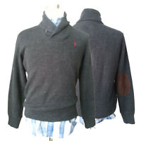POLO Ralph Lauren Men Size S Sweater Cotton Charcoal Gray Shawl Neck Patched Elb