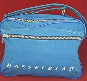 Retro HASSELBLAD Blue Shoulder Travel Bag. Very Clean Rugged Durable Canvas Case