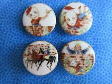 6623 – Colorful Humpty Dumpty Story on Vintage China 4-Button Set