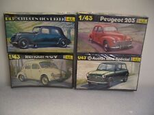 Heller 1/43 Austin Mini, Peugeot 203, Renault 4CV, Citroen 11 CvL 1939- Lot of 4