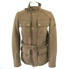 Ralph Lauren Brown Check Tweed Wool Leather Field Country Jacket Coat, US 4 UK 8