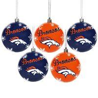 Denver Broncos Shatterproof BALLS Christmas Tree Holiday Ornaments Set 5 pack