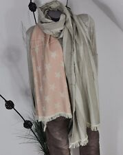 LONG SCARF COTTON SCHAL VINTAGE FRANSEN USA STARS & STRIPES ROSA/ BEIGE 225 X55