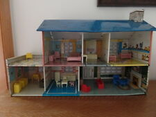 Vintage Tin Litho Dollhouse with Furniture and Baby