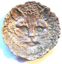 Vide-poche Art Nouveau, bronze doré sculpté: Tête de chat