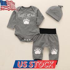 Infant Baby Boys Newborn Romper Bodysuit Tops Pants Hat Clothes Outfits Set